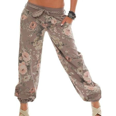 Women Boho Floral Baggy Trousers Harem Pants Casual Loose Wide Leg Yoga