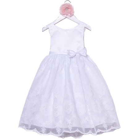 595e5577f79 Precious Kids - Little Girls White Satin Organza Embroidered Flower Girl  Dress - Walmart.com