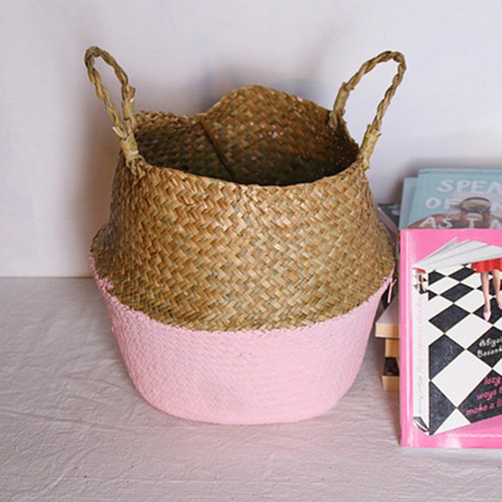 Tuscom Seagrass Wicker Basket Wicker Basket Flower Pot Folding Basket Dirty Basket