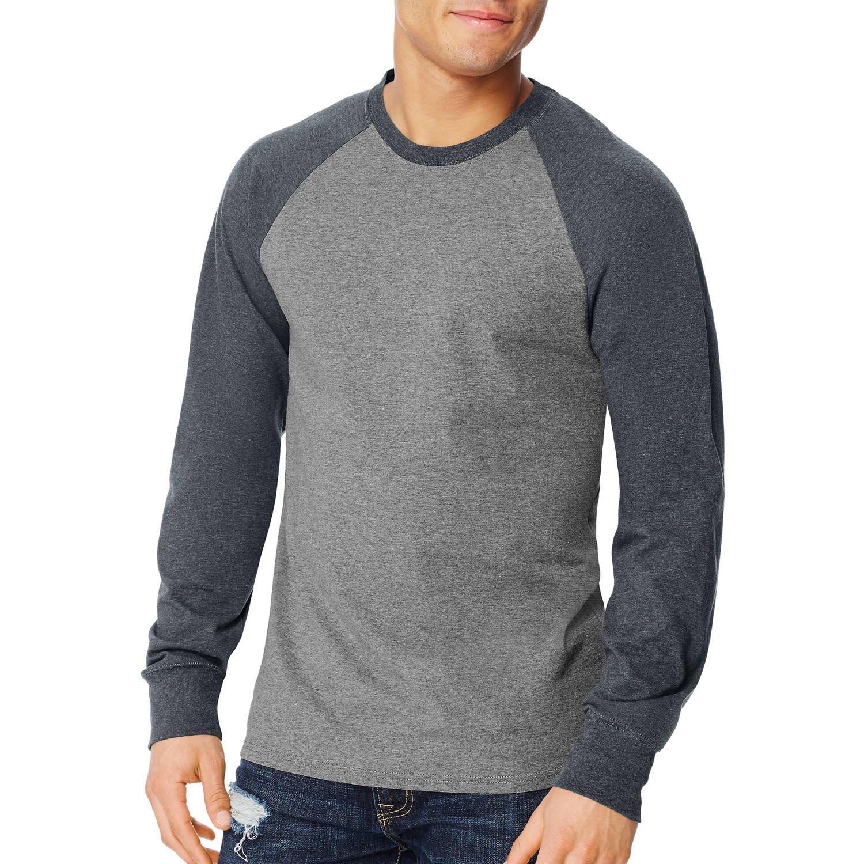 Hanes Big Men's X-temp Long Sleeve Colorblock Raglan T-shirt