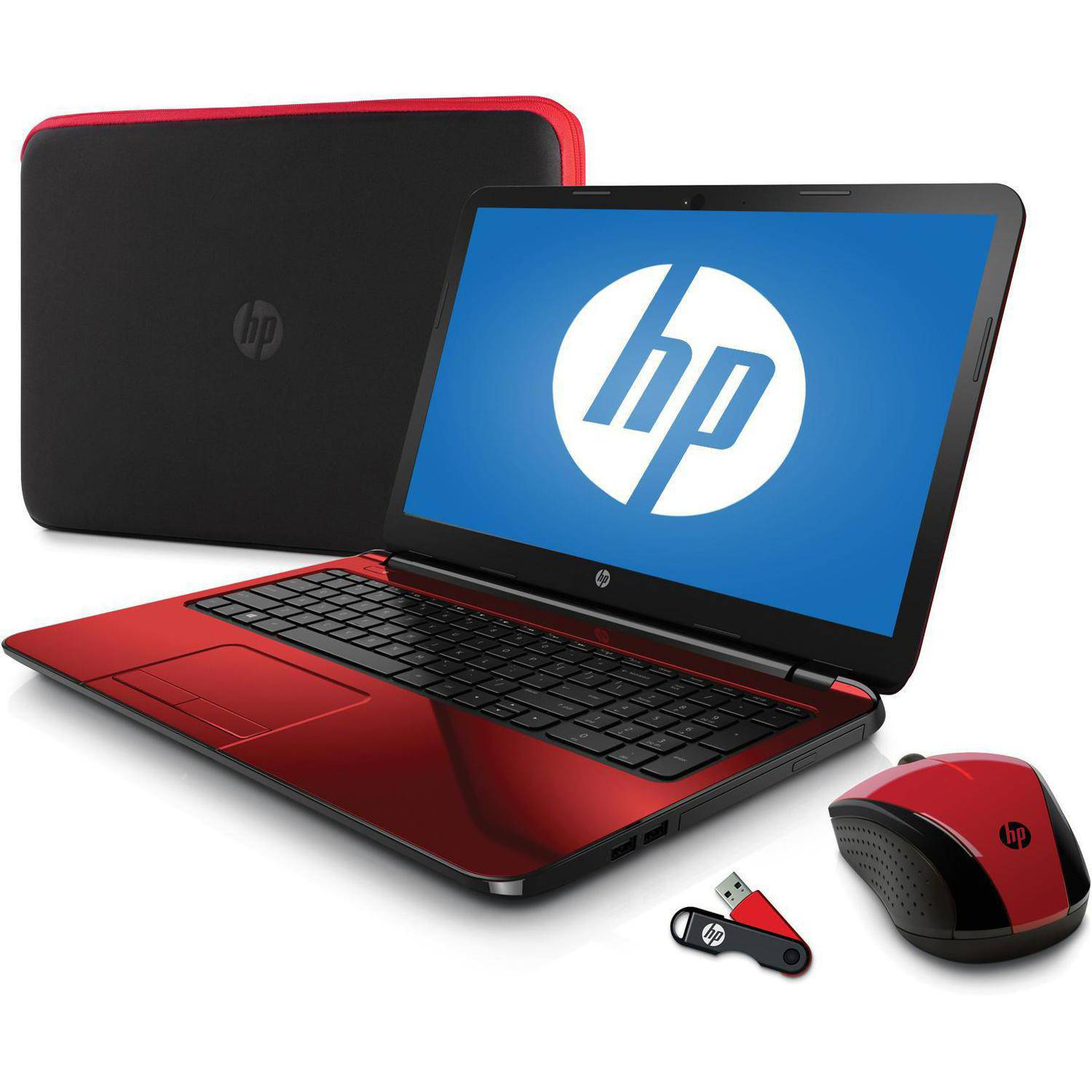 "Refurbished HP Flyer Red 15.6"" 15-G227WM Laptop PC Bundle with AMD Quad-Core A6-5200 Processor, 4GB Memory, 500GB Hard Drive and Windows 8.1  (Free Windows 10 Upgrade before July 29, 2016)"