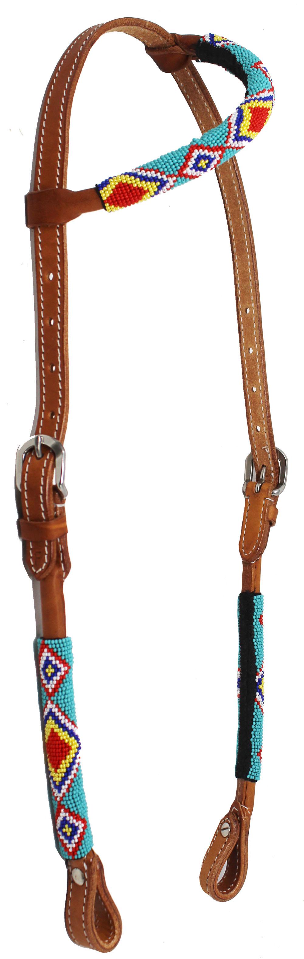 Horse Show Bridle Western Leather Headstall Beaded One Ear 79RT05HA