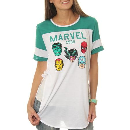 8907d756 Marvel - Women's Classic Avengers 1939 Drapey Tunic Football Short Sleeve  Graphic T-Shirt - Walmart.com