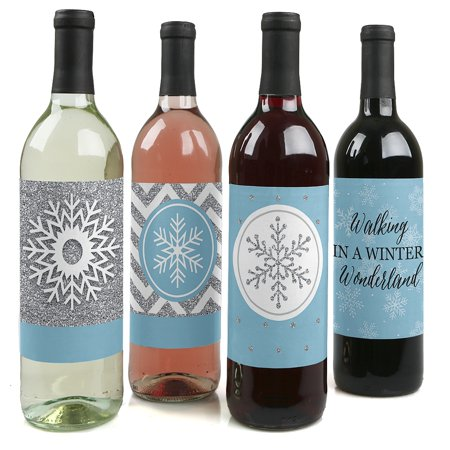 Winter Wonderland - Snowflake Holiday Party Decorations for Women and Men - Wine Bottle Label Stickers - Set of 4
