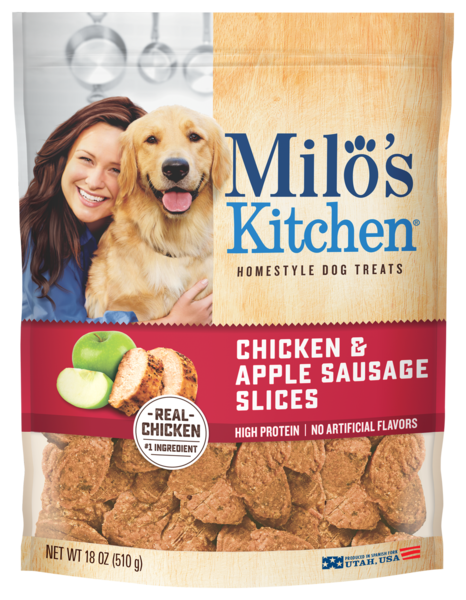 Milo's Kitchen Chicken & Apple Sausage Slices 18 oz.