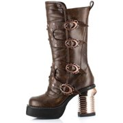 Hades Shoes H-Harajuku Steampunk captain boots with stitched inner front Brown / 8