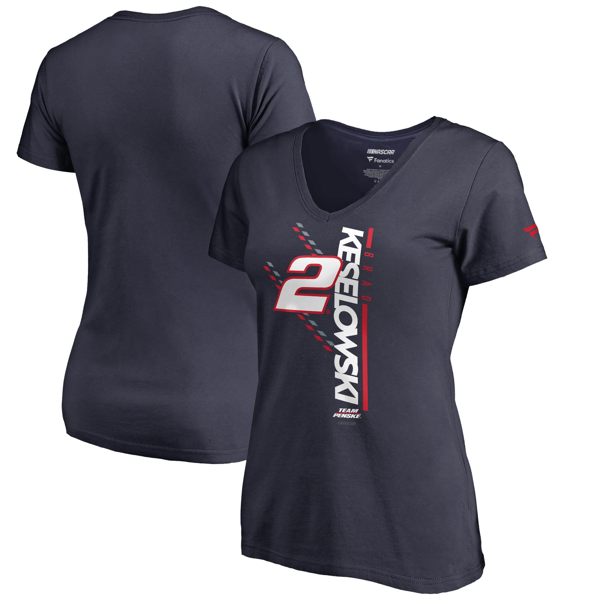 Brad Keselowski Fanatics Branded Women's NASCAR Track Bar V-Neck T-Shirt - Navy