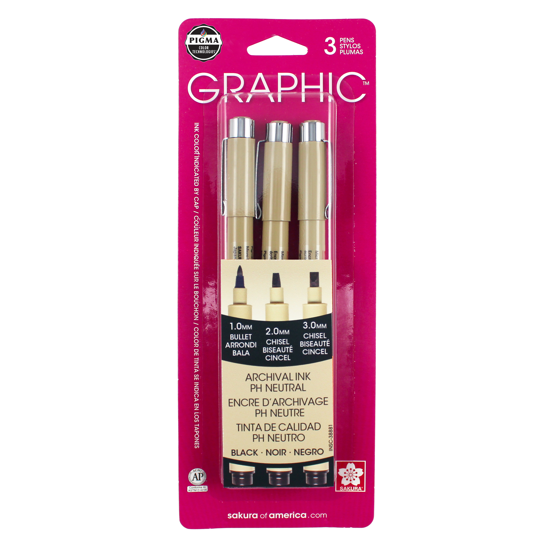 Sakura Pigma Micron Brush /& Graphic Pens 8-Pack Black Ink Sealed Pack
