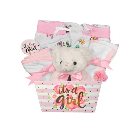 Baby Gift Basket For A Girl 8 Piece Teddy Bear Baby Shower Gift