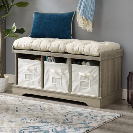 Manor Park Modern Farmhouse Entryway Storage Bench - Grey Wash
