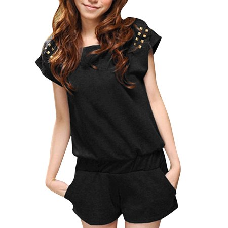 Allegra K Women's Short Sleeve Stretch Waist Playsuit Black (Size L / 12)
