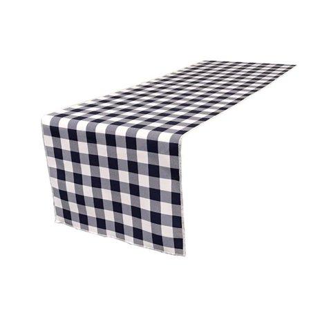 TCcheck14x108-NavyK72 Polyester Gingham Checkered Table Runner, White & Navy - 14 x 108 in. (Navy Table Runner)