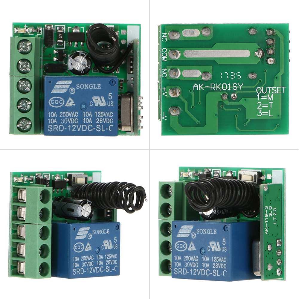 OWSOO Smart Home 433Mhz DC 12V 1CH/Wireless Remote Switch Relay Receiver Transmitter Universal Remote Control Switch Module and RF Transmitter Remote Controls 1527