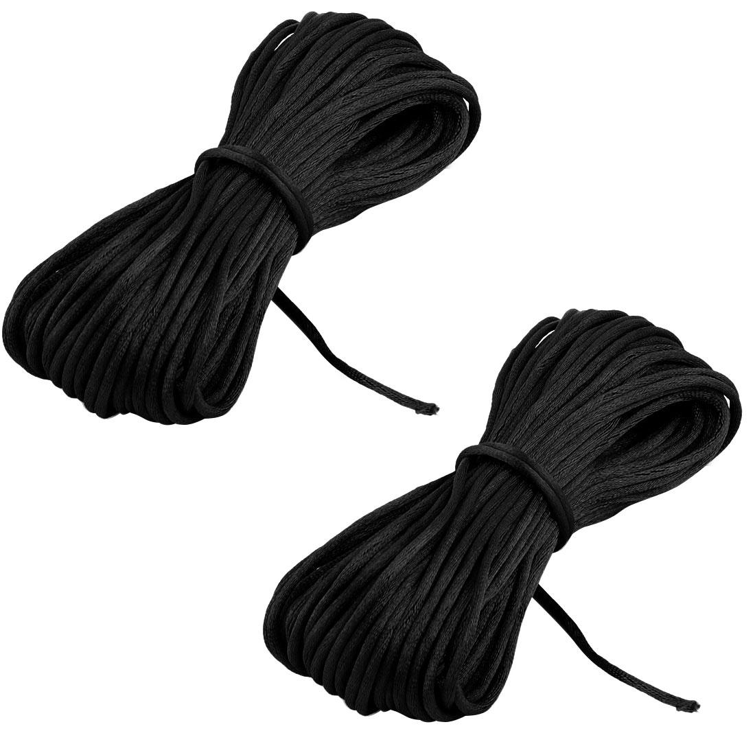 Festival Nylon DIY Handcraft Bracelet Chain Cord String Rope Black 22 Yards 2pcs