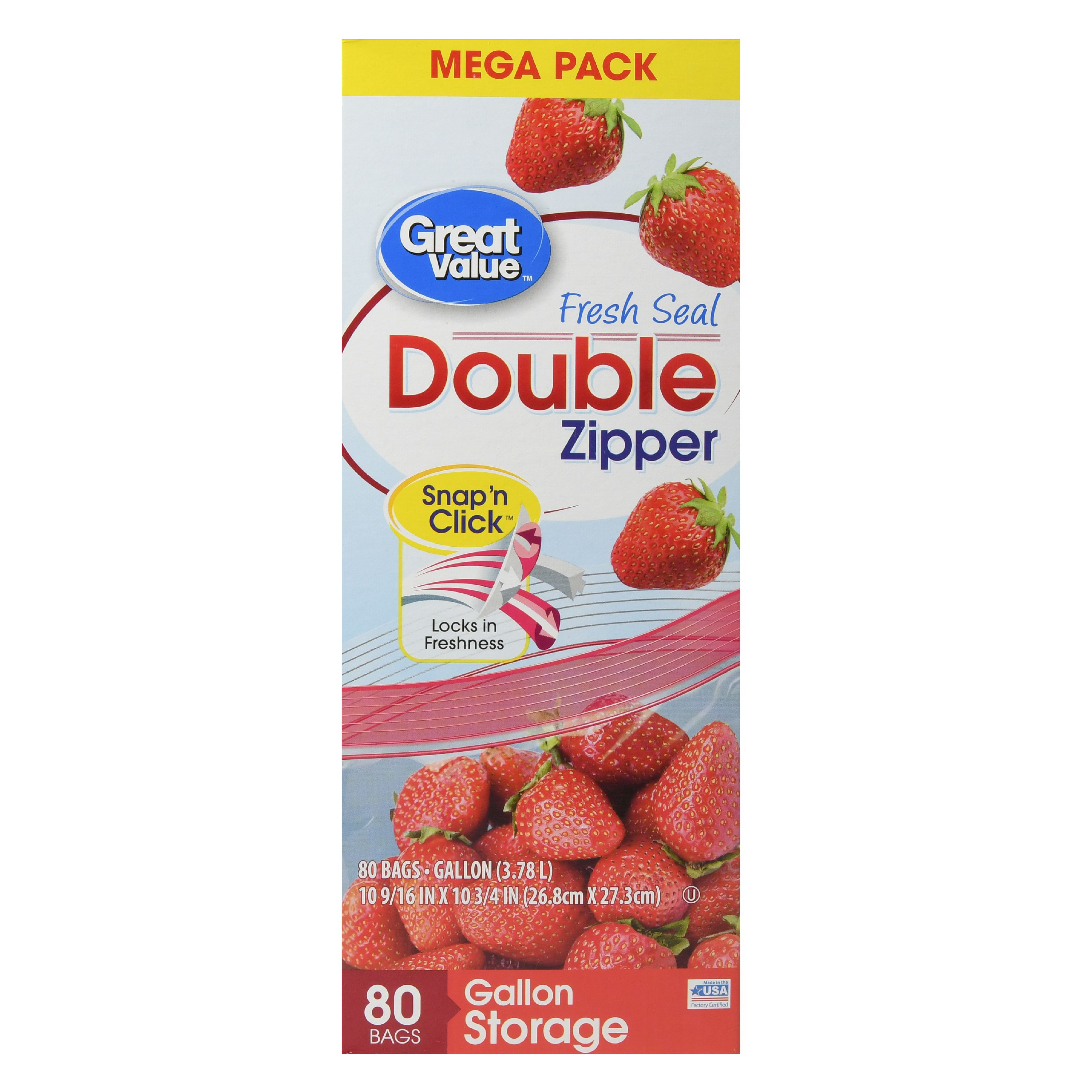 Great Value Double Zipper Bags, Mega Pack, Gallon, 80 Count