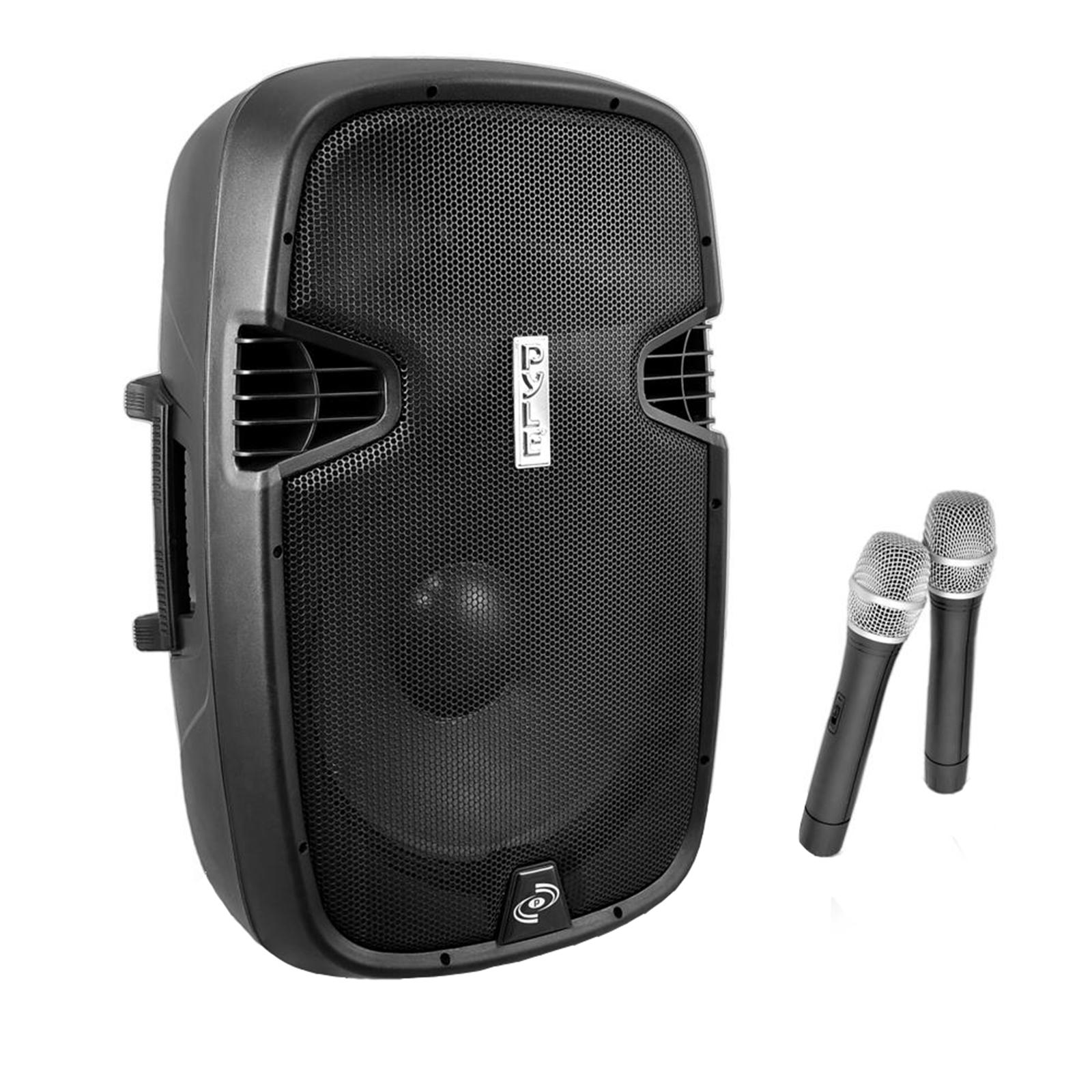 "PylePro 12"" 1000 Watt Portable Loudspeaker System - Built-in Battery, 2 Mics, FM Radio, LCD Readout, USB , SD Card Readers and BT Music streaming"