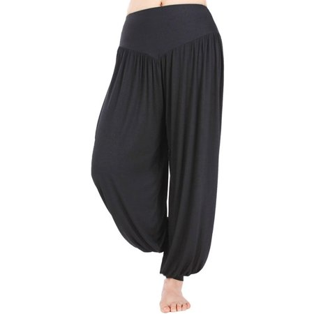 (SAYFUT Women's Super Soft Yoga Pilates Pants Harem Hippie Palazzo Wide Leg Long Loose Baggy Casual Trousers)