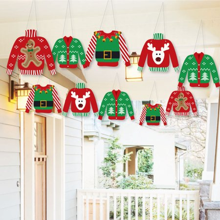 Ugly Christmas Decorations (Hanging Ugly Sweater - Outdoor Holiday & Christmas Hanging Porch & Tree Yard Decorations - 10)