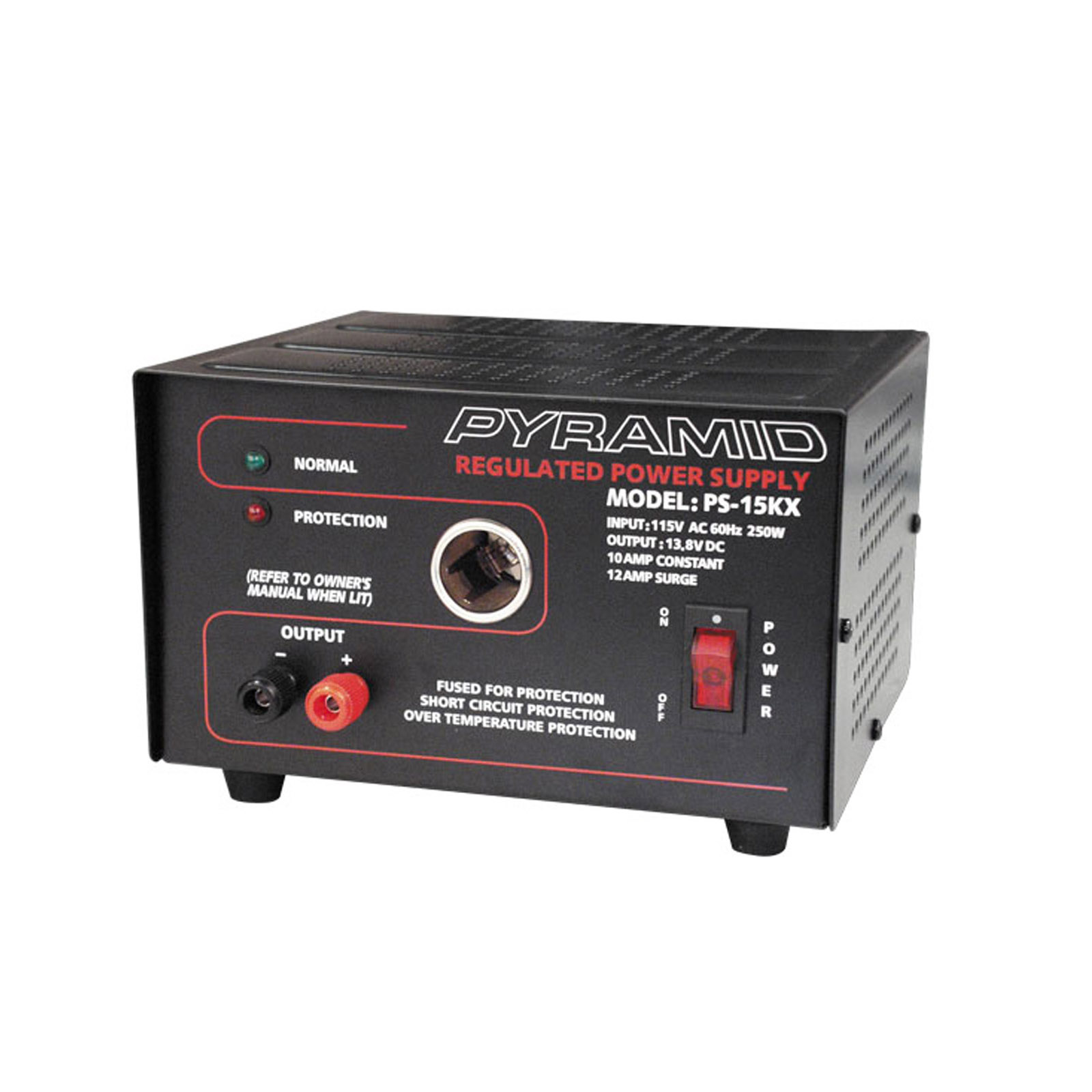 Pyramid 10A 13.8-Volt Power Supply with Cigarette Lighter Adapter