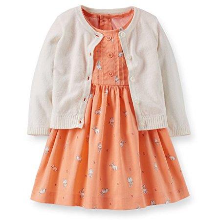 8305d62ed Carter's - Baby Girls' 3 Piece Cardigan Dress Set - Peach - Bunnies -  Walmart.com