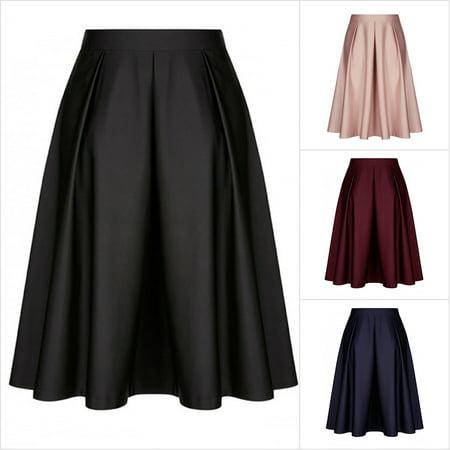 b954fd2abfa9 Viugreum - Women's Mid Waist Vintage A Line Pleated Midi Skirt, Black -  Walmart.com