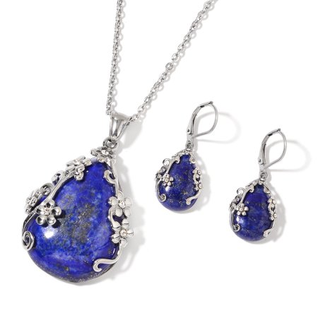Lapis Lazuli White Crystal Lever Back flower Earrings Chain Pendant Necklace Size 20