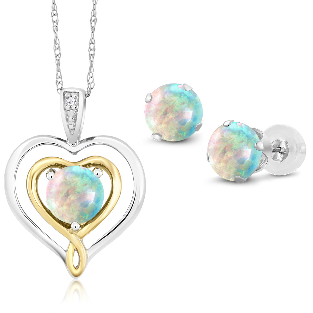 10K Two Tone Gold 2.01 Ct Cabochon Simulated Opal Diamond Pendant Earrings Set by