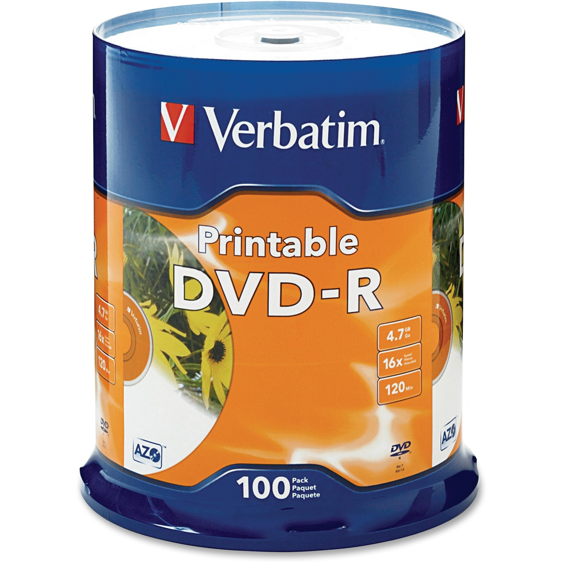 Verbatim, VER95153, White Inkjet Printable DVD-R Spindle, 100, White