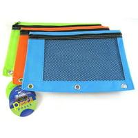 2 Pk, BAZIC Bright Color 3-Ring Pencil Pouch-Mesh Window, Boys