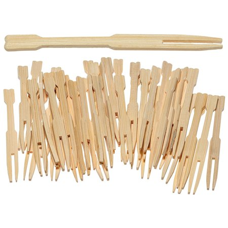 Prexware 100 Pc 3.5 Inch Bamboo Party Forks Party Buffet Mini Forks 3.5 Inch 100 Ct. ()