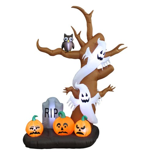 BZB Goods 9 foot tall halloween inflatable tree with ghosts, pumpkins, owl and tombstone decoration