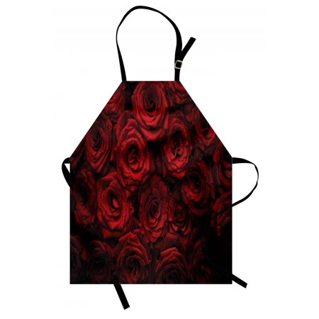 Dark Red Apron Image of Red Roses with Drops of Water Blooming Bouquet Symbol of Love and Passion, Unisex Kitchen Bib Apron with Adjustable Neck for Cooking Baking Gardening, Red Black, by Ambesonne ()