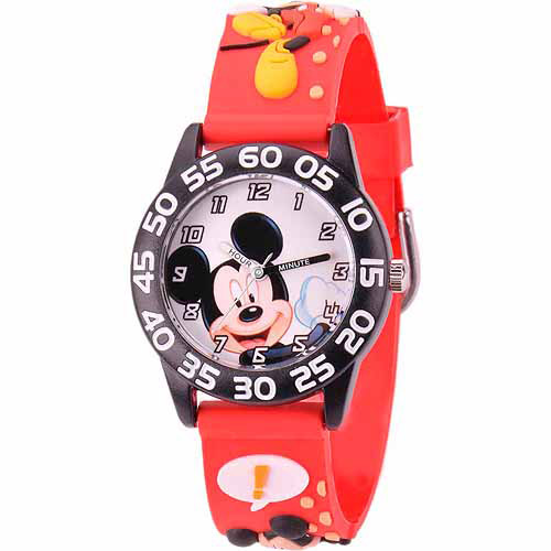 Disney Mickey Mouse Boys' 3D Plastic Watch, Red Strap