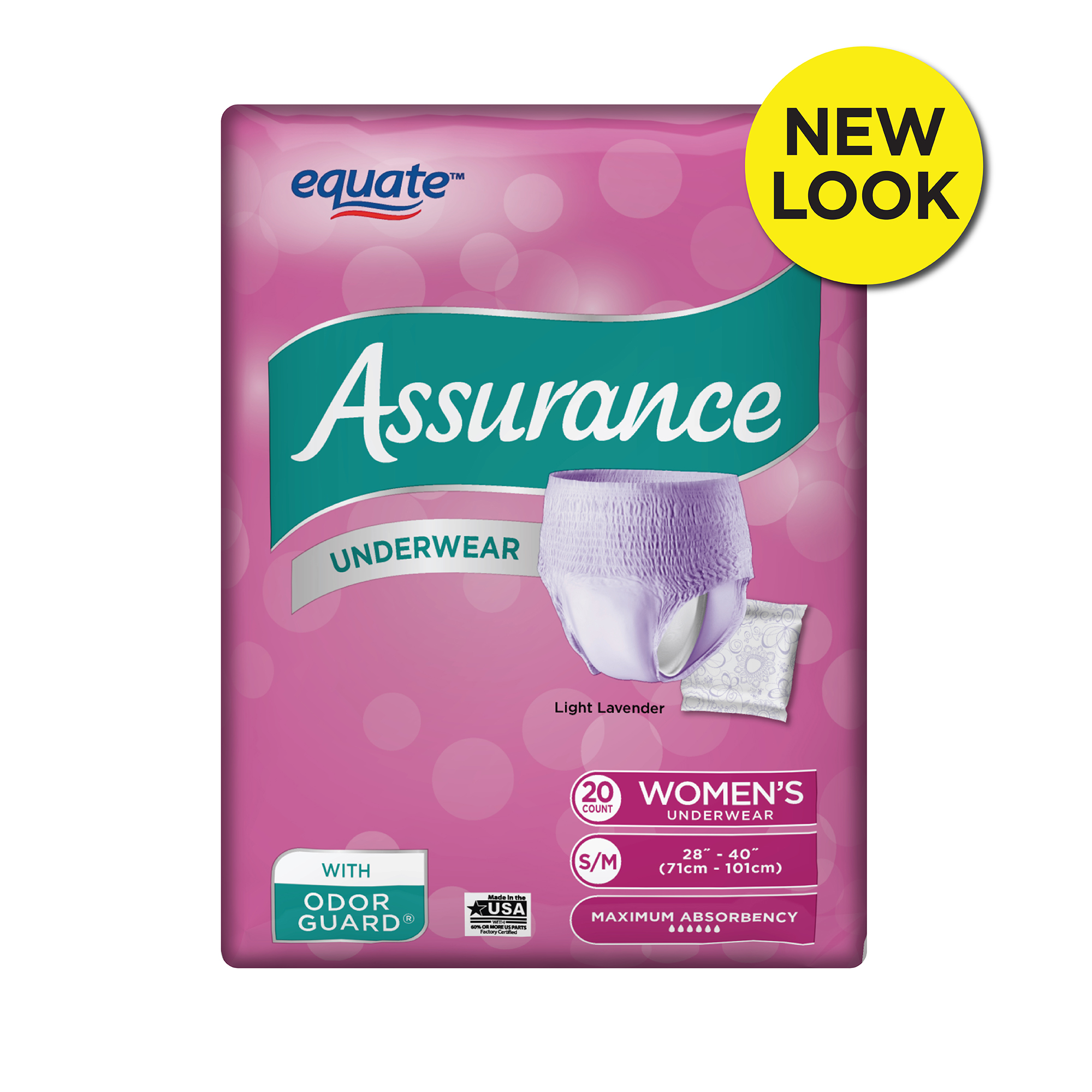 Assurance Incontinence Underwear for Women, Maximum, S/M, 20 Ct