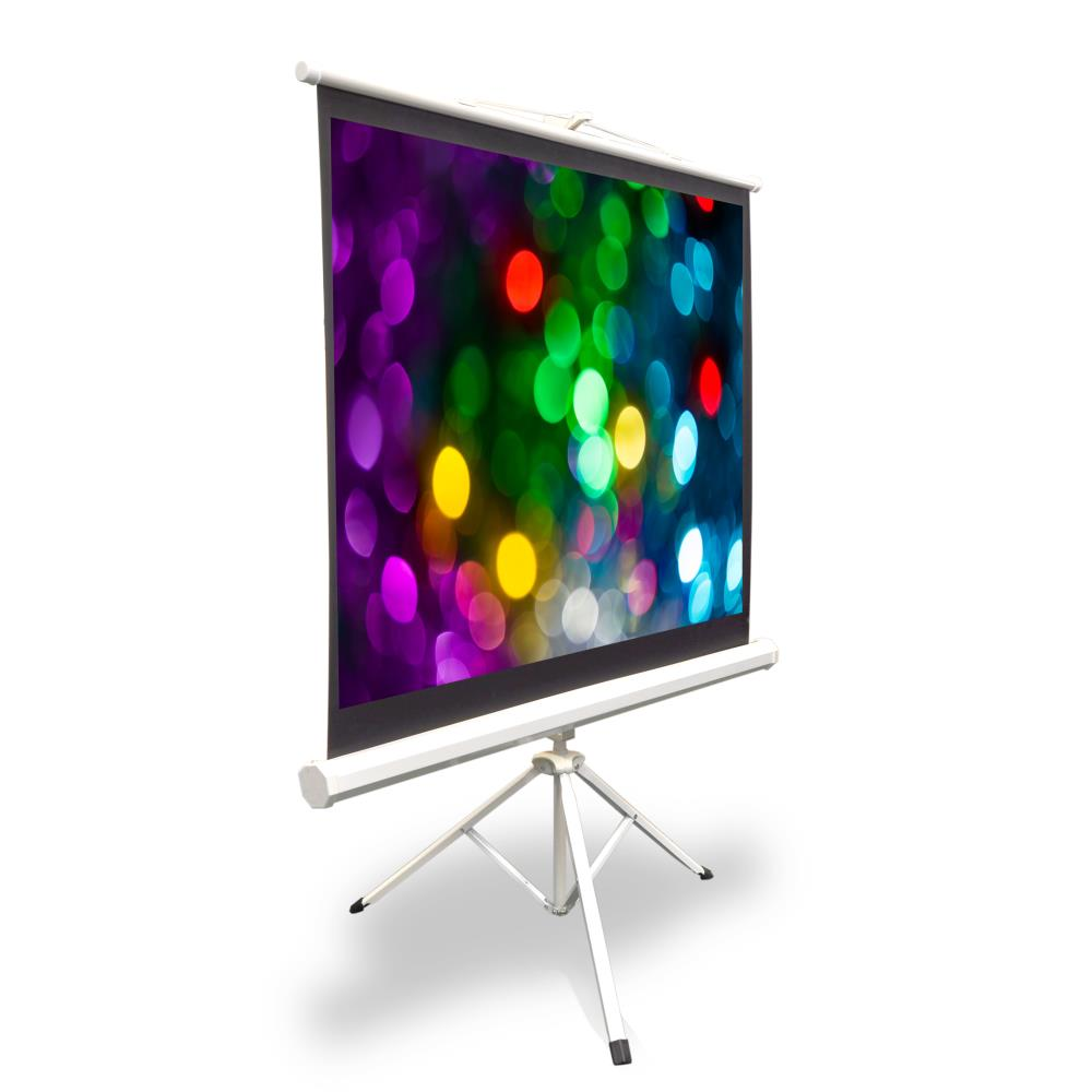 PYLE PRJTP52 - 50-inch Video Projector Screen, Easy Fold-Out & Roll-Up Projection Display, Tripod Stand Style