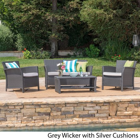 Christopher Knight Home Santa Lucia Outdoor 4-piece Brown Wicker Conversation Set with Cushions