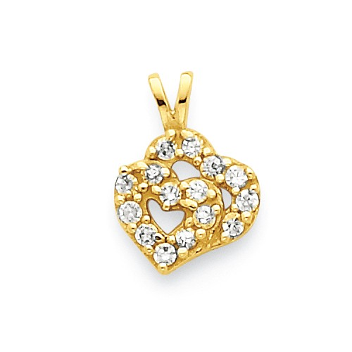 10k Yellow Gold CZ Double Heart Pendant