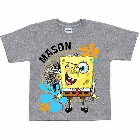 Personalized SpongeBob SquarePants Wink Toddler Boy Gray T-Shirt - Spongebob Boy Shorts