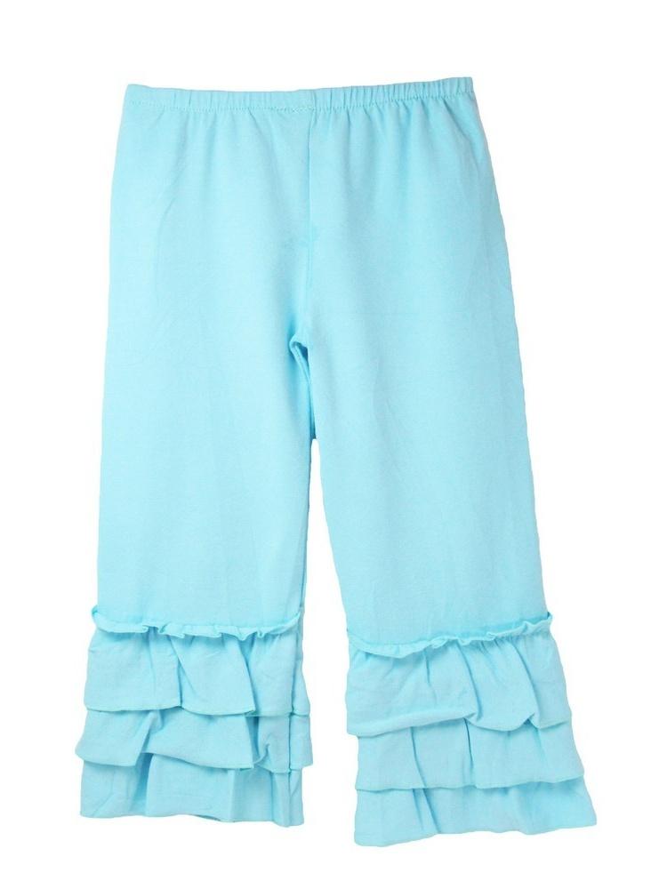 Girls Light Blue Triple Tier Ruffle Cuffed Cotton Spandex Pants 12M-7