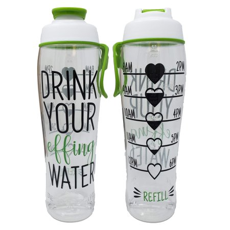 50 Strong BPA Free Reusable Water Bottle with Time Marker - Motivational Fitness Bottles - Hours Marked - Drink More Water Daily - Tracker Helps You Drink Water All Day -Made in USA Effing 24 oz.