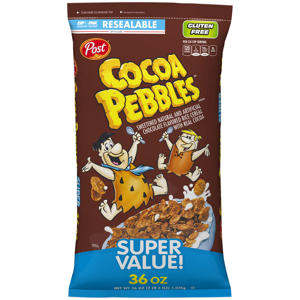 Post Cocoa Pebbles Gluten Free Breakfast Cereal, Chocolate, 36 Oz