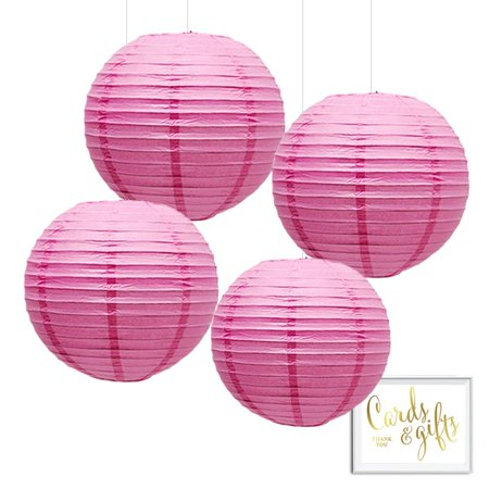 Andaz Press Hanging Paper Lantern Party Decor Kit with Free Party Sign, Pink, 4-Pack - Party Lanterns