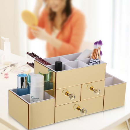 Hilitand Cosmetic Storage Box Gold Mirrored Cosmetic Organizer Dresser Desktop Makeup Drawer Storage Box Holder Case