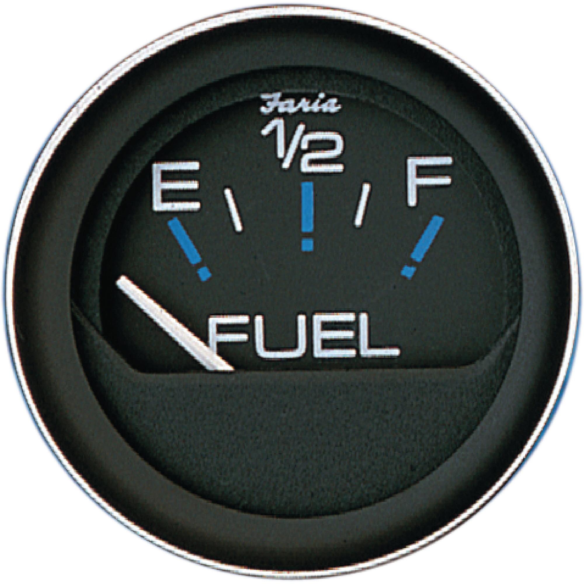 """Faria Coral Black 2"""" Fuel Level Gauge, E-1/2-F"""