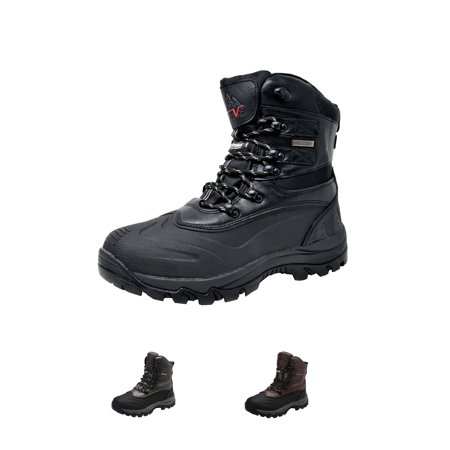 NORTIV 8 Men's Insulated Waterproof Winter Skii Outdoor Hiking Boots 160443-M BLACK Size 9.5