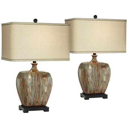 Possini Euro Design Modern Table Lamps Set of 2 Ceramic Copper Drip  Rectangular Fabric Shade for Living Room Family Bedroom