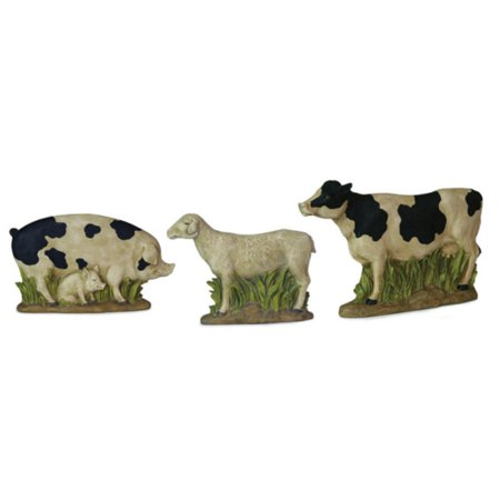 Set of 3 Country Heritage Rustic Farm Pig, Sheep and Cow Table Top Figures
