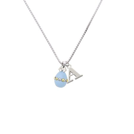 Silvertone Light Blue Easter Egg with Multicolored Crystal Band - A - Initial Necklace - Easter Jewelry