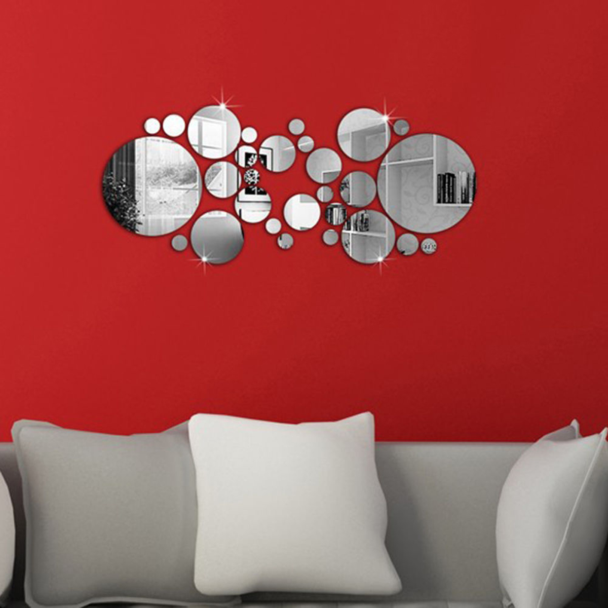 Modern Art Acrylic Silver Round Mirror Wall Stickers DIY Home Living Room Decor