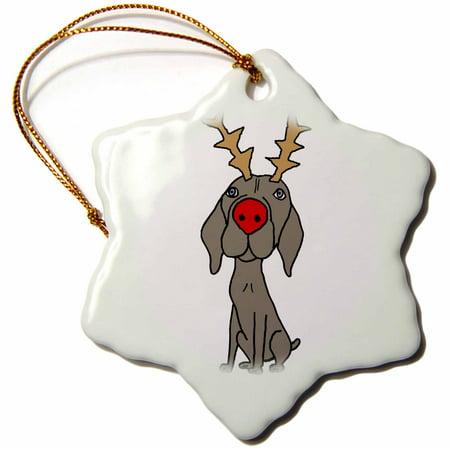 3dRose Cute Funny Weimaraner Dog with reindeer Antlers Christmas - Snowflake Ornament, 3-inch](Kids Reindeer Antlers)